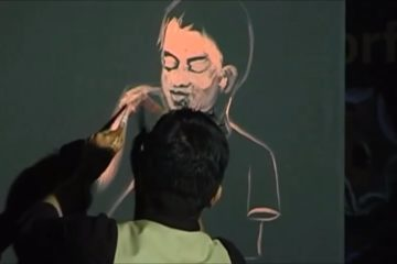 Vilas Nayak, painting 'Every Child is Special' at IIS 2013