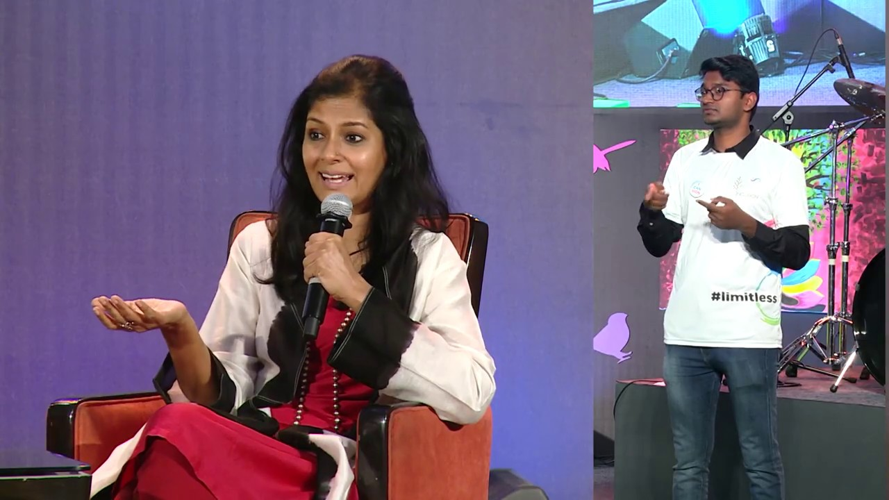 Nandita Das, with V R Ferose at IIS 2019