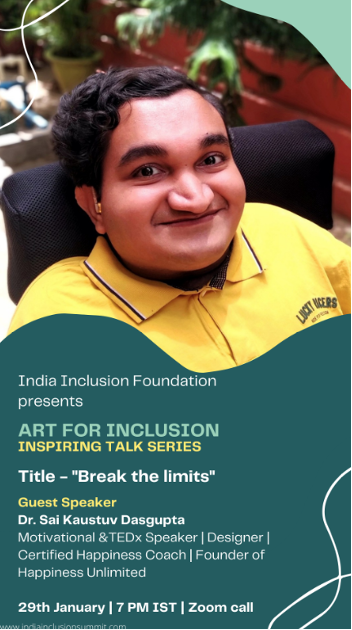 """Event poster of Art For Inclusion """"Inspiring Talk"""" series"""